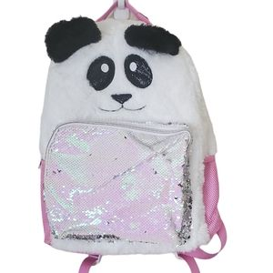 CAT & JACK Backpack Panda Fuzzy Sequin White Pink